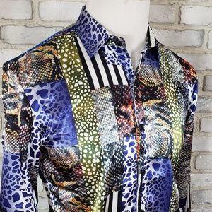 Zhe Lin Men's Shirt Sze L Green Blue Animals Print